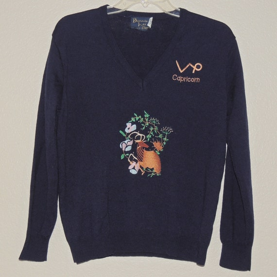 1970s CAPRICORN Embroidered V Neck Sweater by Bon… - image 1