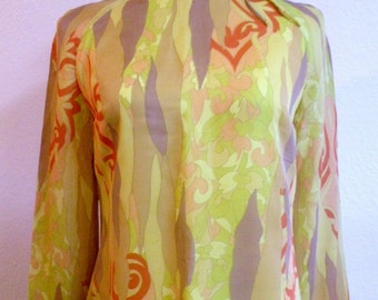 1960s Interesting Print Nylon Chiffon Knee Length Dress S-M