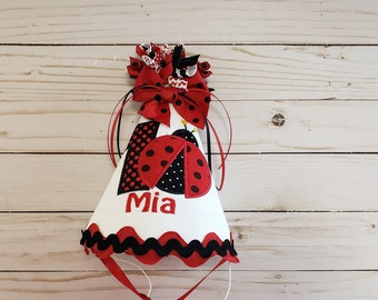 Red Ladybug Party Hat First Birthday Smash Cake 2nd Lady Bug