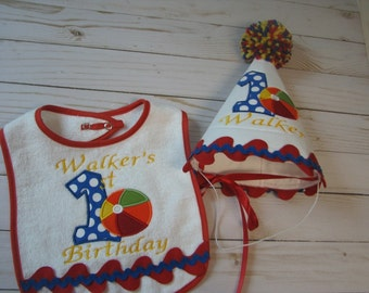 First Birthday Beach Ball Hat And Bib Set Free Personalization Party Smash Cake
