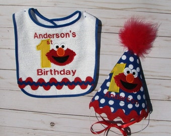 First Birthday Elmo Hat And Bib Set Free Personalization 2nd Party Smash Cake