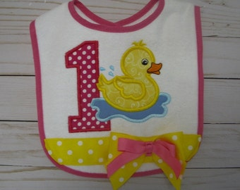 pink duck birthday bib, splish splash duck birthday party, duckie smash cake bib, duck birthday party
