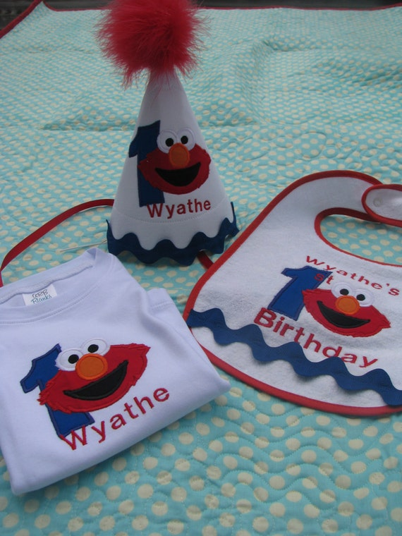 First Birthday Elmo Hat Shirt And Bib Set Free