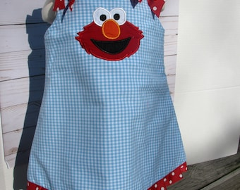 elmo   aline  dress, elmo  birthday, 1st birthday,  2nd birthday, birthday dress,  birthday dress, aqua and red elmo party dress, elmo party