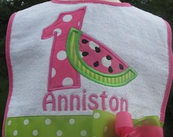 watermelon  bibs, 1st birthday bib, 2nd birthday bib, smash cake bib, watermelon birthday bib, watermelon birthday bib