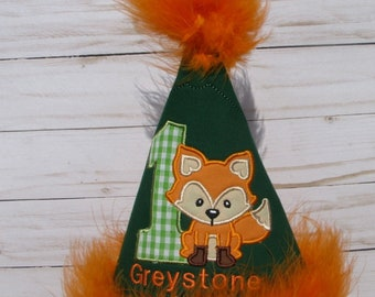 fox  birthday hat,  smash cake hat, 1st birthday,  2nd birthday,  birthday photo party hat,  woodland birthday any name and age