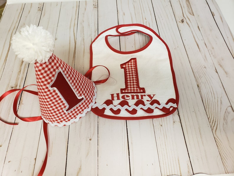 First Birthday Hat And Bib Set Free Personalization Party Smash Cake Ha