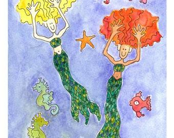 Mermaid, Mermaid Card - Set of Four Cards