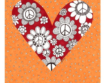Love You - Peace Flowers Blank Card - 4 Card Pack