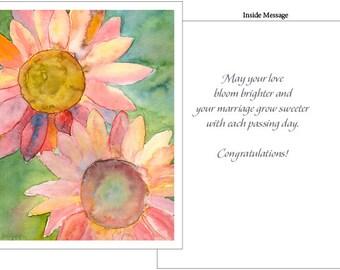 Sunflowers Wedding Card - 4 card