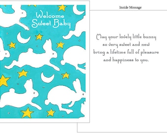 Bunnies and Stars and Moons - Baby Congratulations Card