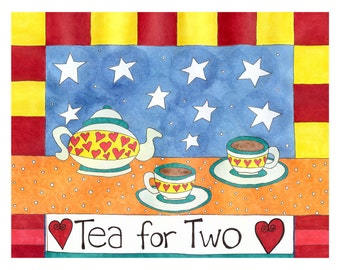 Tea for Two Blank Card - 4 Card Pack