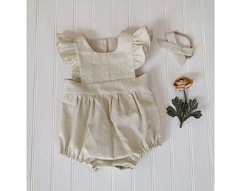 2fb84b53ba5 Baby linen romper. Beige baby romper. Ivory baby and toddler romper.  Vintage style baby romper in light beige linen. toddler beige playsuit