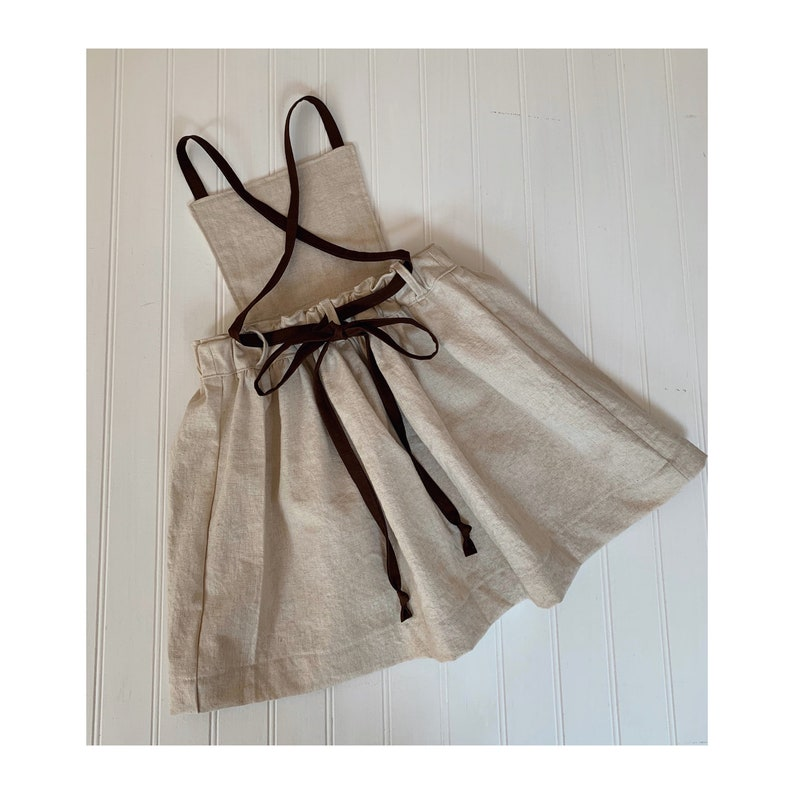 Girls pinafore dress in natural champagne line Cottagecore style toddler pinafore Oatmeal linen dress latte brown cross back tie straps