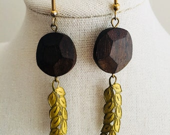 Wood and metal leaf drop earrings
