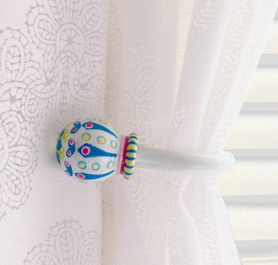 2 Moroccan Curtain Holdbacks, Pair, Bohemian Accent, Custom Painted, Curtain Tie Backs, Scarf Holder, Hook