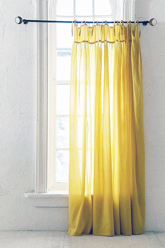 Tie Top Sheer Curtain, Single Panel, Bodice Header, Voile Chiffon, Choose Your Length and Color