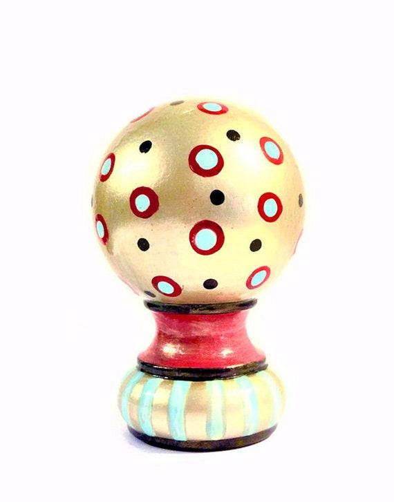 Rod Finials, Newel Post Cap, Bed Post Finial, Custom Painted Design, Ball Style,