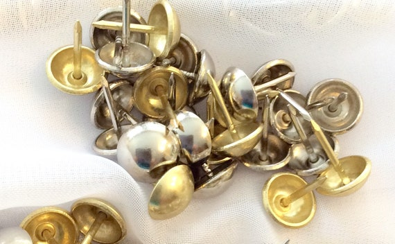 500 Mixed Metal Decorative Nails, Shiny Brass and Nickel,