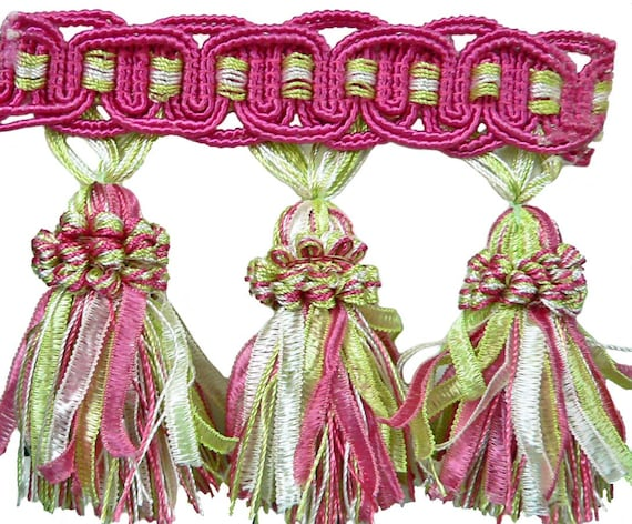 Ribbon Tassel Fringe in Green and Pink, Sew-On  By The Yard, Add to Pillows, Curtains, and Upholstery, or Tablecloths, By The Yard