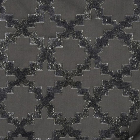 Moroccan Upholstery Fabric, Mosaic Pattern, Cut Velvet in Indigo or Ash Gray, By The Yard, High End, Soft and Durable, Designer Quality,
