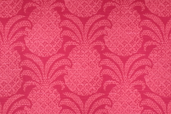 Pineapple Damask Fabric, Madcap Cottage, Red, Pink, By The Yard
