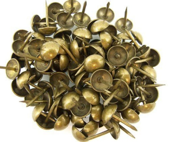 """1000 Upholstery Nails / Natural Brass / Round High Dome / 7/16"""" Head / 1/2"""" Shank"""