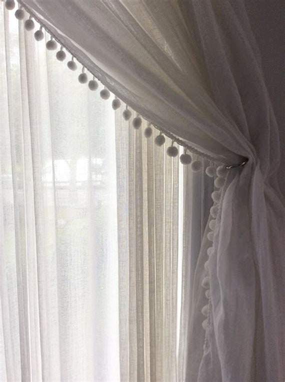 Sheer Ivory Linen Curtain with Pom Pom Trim, Rod Pocket Style, European Flax, Long or Short Length,