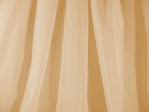 Sheer Gold Voile Chiffon Fabric, 118 Inch Wide, By The Yard, Wedding Drapery, Seamless Curtain, Event Decor,