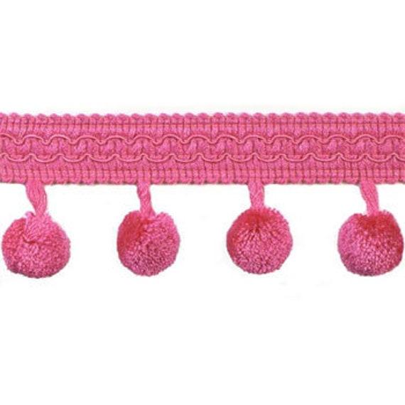 Fuchsia Hot Pink Gimp with Pom Poms, Border Trim for Home Decor, Fabric Embelishment, Decorative Accent, Raspberry Rose Shade