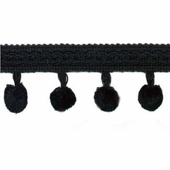 Black Pom Pom Ball Fringe, Sew On or Glue On, Craft Trim, By The Yard, 2 Inch Wide