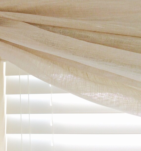 Window Scarf Valance, Sheer Egyptian Flax Linen, Available, 50 Inch Wide, Choose Your Length