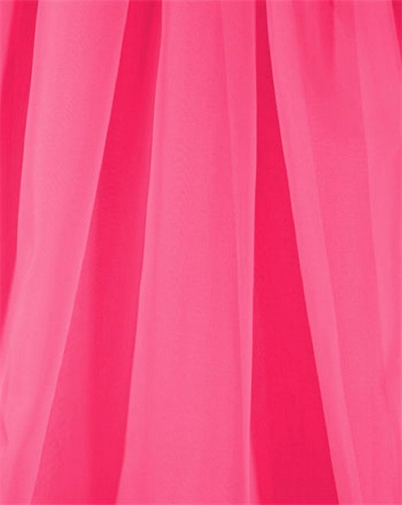 Voile Chiffon Fabric in Fuchsia Pink, By The Yard, Extra Wide 118 Inches, Sheer Light Weight, Wedding Material