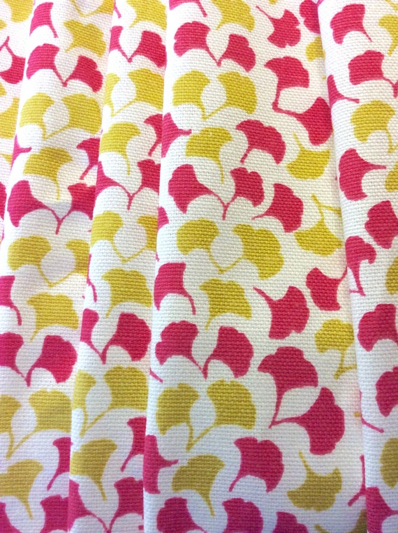 Small Floral Print Home Fabric, Pink and Yellow on White, Cotton, Drapery and Upholstery, By The Yard