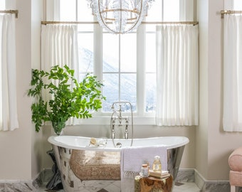 White Pleated Cafe Curtain in Dotted Swiss, Single Panel, All Cotton, Semi-Sheer Embroidered Clipped Dot,  Bathroom Kitchen Curtain