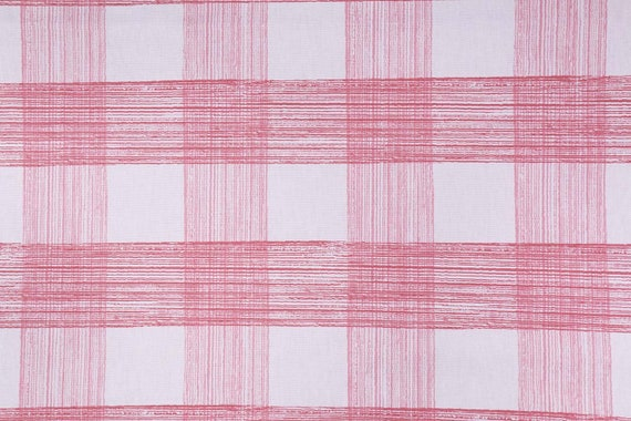 Plaid Check Rhubarb and White Curtain, Madcap Cottage Georgica Pond, Single Lined Panel, Cotton, Modern Country Traditional