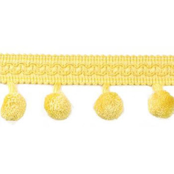 Bright Yellow Pom Pom Trim Fringe, Dangling Rayon Balls and Braided Gimp, 2 Inch Wide, By the Yard, Decorative Border Embellishment
