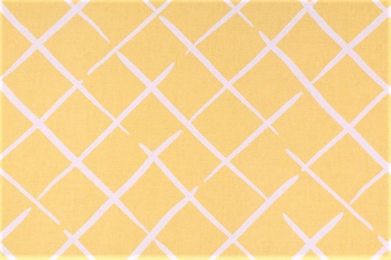 Decorative Cotton Fabric, Yellow and White, Trellis Diamond Print, Madcap Cottage, by The Yard