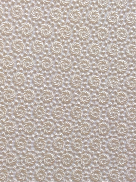 Sheer Crocheted Lace Fabric in Off-White Alabaster By The Yard