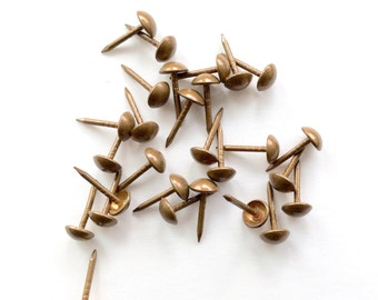 Small Upholstery Tacks Nails in Natural French Brass for DIY Projects