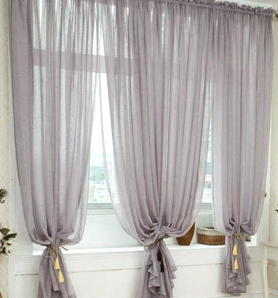Wide Silver Gray Sheer Curtain, Voile Chiffon, Single Panel, Elegant Ethereal Flowy, Rod Pocket Style, 6 Colors Available, Multiple Lengths,