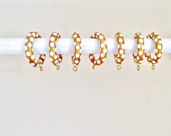 Unique Curtain Rings, Gold and White Dotted, Wood with Eyelets, Set of 7, Eclectic