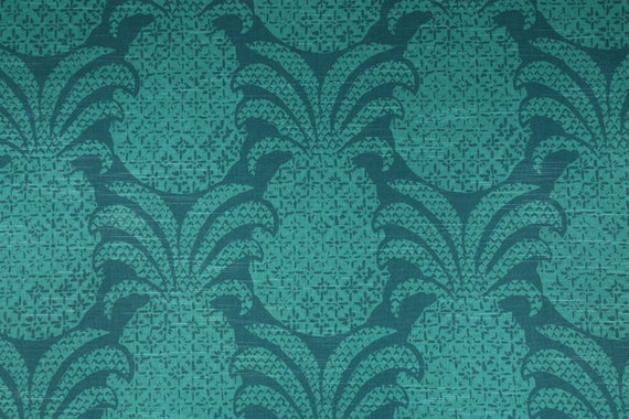 Pineapple Damask Fabric, Cotton, Marrakech Green, Hawaiian, Tropical
