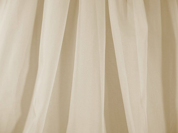 Sheer Voile Chiffon Fabric, Light Champagne, 118 Inches Wide, By The Yard