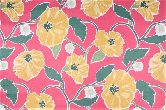 Whimsical Cottage Drapery Fabric in Strawberry Pink and Daffodil Yellow Floral Print By The Yard