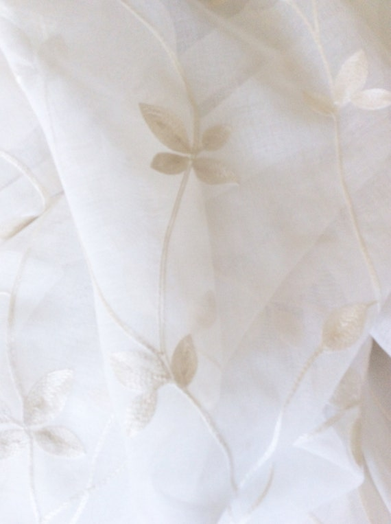 Sheer Curtain Panel with Embroidery in Ivory Made To Order 52 x 84