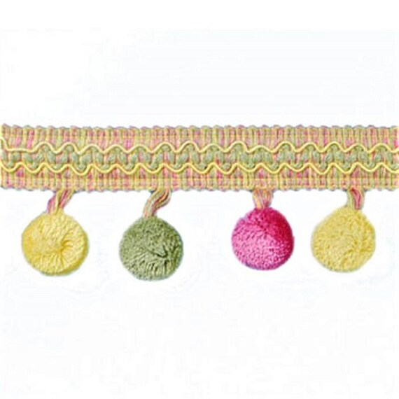Pom Pom Fringe Trim in Yellow and Pink and Green for Home Decorating By The Yard