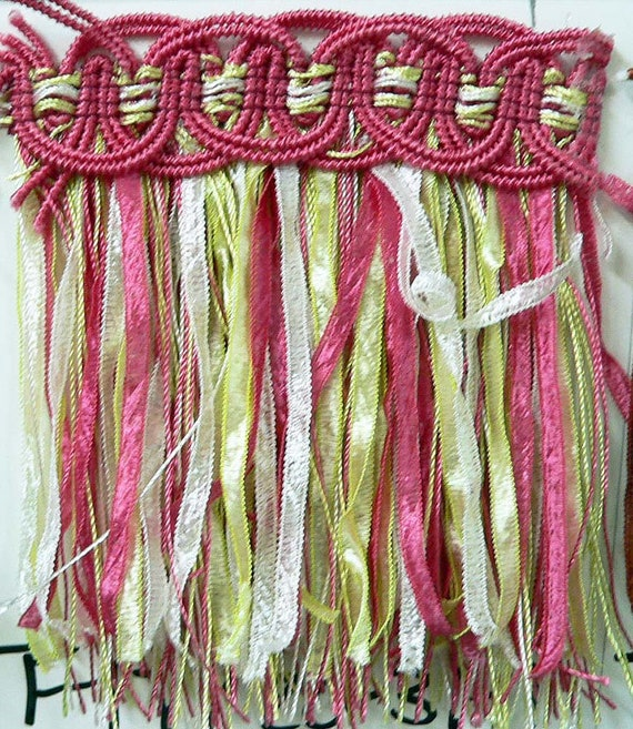 Frilly Ribbon Fringe, Sew-On or Glue-On, Embellishment, Border, Tassel, Trim, Craft, Costume, 4 Inch Wide, By The Yard, Pink, Green