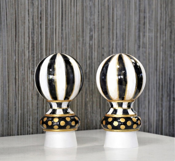 Painted Rod Finials, Baluster Caps, Bed Post Caps, Wood Ball, Black White  home Decor