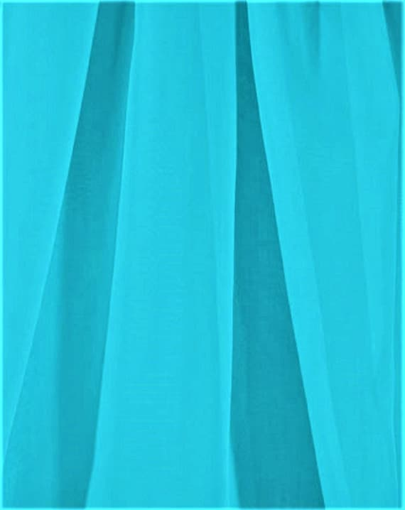 Extra Wide Turquoise Voile Sheer Fabric By The Yard